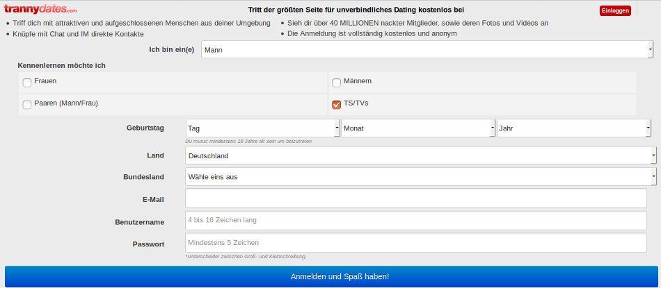 Wie man sich auf Tranny Dates in Deutsch registriert, um eine Trans zu treffen