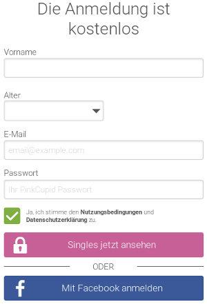 Registrierung auf PinkCupid.com, Auswahl und Preise des Abonnements